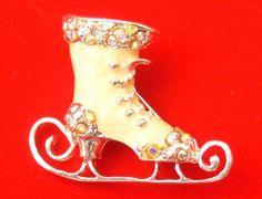 Victorian-inspired ice skate CHRISTMAS pin brooch by BlingItSanta