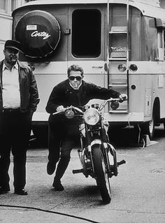 Steve McQueen and motorcycle, sunglasses and cigarette
