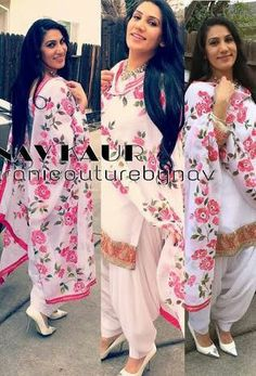 Handpaint duppata on gerogette with georgette salwar kameez and lacework touch up Indian Designer Suits, Indian Suits, Indian Attire, Indian Wear, Punjabi Dress, Punjabi Suits, Patiala Dress, Punjabi Fashion, Indian Fashion