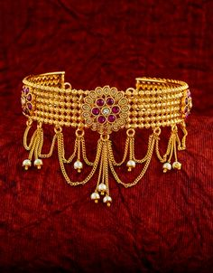 Rani Colour Matte Gold Finish Fancy Stunning Armlet/Waki For Girls Vanki Designs Jewellery, Jewelry Design Earrings, Necklace Designs, Indian Jewelry Sets, Bridal Jewelry Sets, Wedding Jewelry, Gold Bangles Design, Gold Jewellery Design, Gold Jewelry Simple