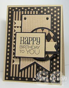handmade birthday card  from Paper Crafty's Creations ... monochromatic browns ... kraft to deep dark chocolate ... lofts of layers and patterns ... great montage ... big sentiment on top layer ... luv the look of dark brown inking on kraft ... great card!!