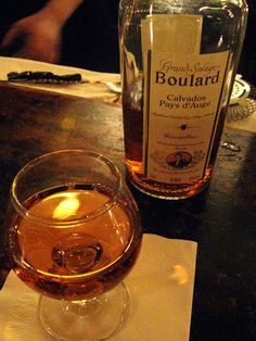 'Calvados is an apple brandy from the French region of Lower Normandy...Calvados taken between courses in a very long meal, sometimes with apple sorbet to re-awaken the appetite.