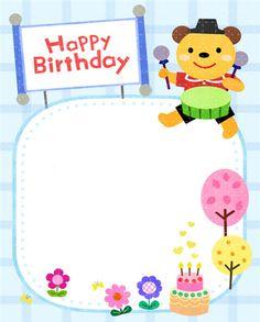생일편지지 & 메모지 모음 ♡ : 네이버 블로그 Birthday Frames, Birthday Board, 1st Birthday Girls, Happy Birthday, Cute Cartoon Animals, Notebook Design, Scrapbook Pages, Diy And Crafts, Kindergarten