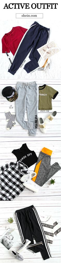 Easy cute sports look for girls. Find more active outfits at shein.com.