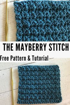 Free Tutorial: The Mayberry Stitch! Free Tutorial: The Mayberry Stitch! ,Häkeln Learn how to crochet the Mayberry stitch—a free crochet pattern, and a crochet tutorial for beginners! Crochet Stitches Patterns, Knitting Stitches, Stitch Patterns, Knitting Patterns, Beginner Crochet Stitches, Crochet Stitches For Blankets, Sock Knitting, Knitting Tutorials, Knitting Videos