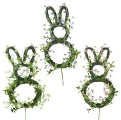 """RAZ Floral Rabbit Pick Set of 3   3 Assorted Styles Set includes one of each style Pink, Lavender, White Made of Plastic Measures 18"""" X 5""""  **RAZ Exclusive**  !"""