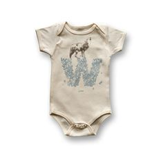 Perfect if we have a boy, since his name will start with a W. Personalized W for Wolf  Organic Baby Bodysuit by bioME5 on Etsy, $24.00