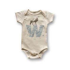 "Personalized ""W"" for Wolf - Organic Baby Bodysuit. 24.00, via Etsy."