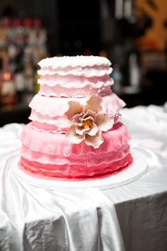 Ombre Wedding Cake | Pink | Style Me Pretty