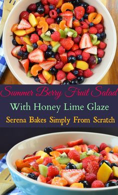 Summer Berry Fruit Salad With Honey Lime Glaze. The perfect salad for picnics, barbecues and parties.