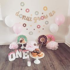 """So fun making these fun d🍩nut themed party decor! There will be more posted this weekend! """"Donut grow up"""" Banner Donut Birthday Parties, Donut Party, 1st Birthday Party Themes, First Birthday Pictures, Birthday Ideas For Her, Grown Up Parties, Fiesta Baby Shower, Baby Girl 1st Birthday, 1st Birthdays"""
