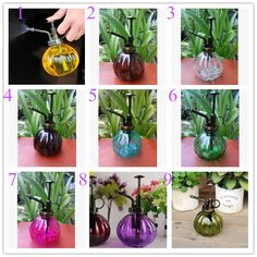 9 colors Zakka Vintage glass plastic antique copper water cans garden tools pressure sprayer watering cans home decoration