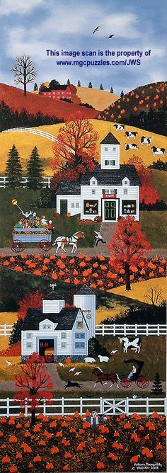 Autumn Tranquility by Jane Wooster Scott ~ folk art