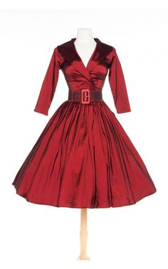 Pinup Couture- Birdie Dress in Dark Red Sharkskin Taffeta with Three-Quarter Sleeves | Pinup Girl Clothing
