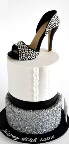 ~ It's a Colorful Life ~ — Crystal Sugar Shoe on Silver Sequins Cake High Heel Cakes, Shoe Cakes, Purse Cakes, Pretty Cakes, Beautiful Cakes, Amazing Cakes, Girly Cakes, Fancy Cakes, Pink Cakes