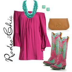 Pretty In Pink by rodeo-chic on Polyvore, Old Gringo Cowboy Boots with Dress #Classic design.#Casually Cool!!!#
