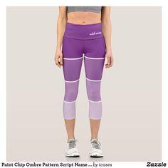 Paint Chip Ombre Pattern Script Name Purple Capri Leggings Ombre Leggings, Custom Leggings, Paint Chips, Capri Leggings, Script, Cool Designs, Purple, Cute, Pattern