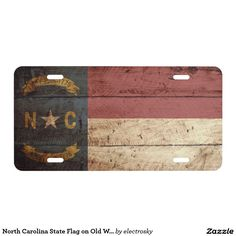 North Carolina State Flag on Old Wood Grain - Car Floor Mats License Plates, Air Fresheners, and other Automobile Accessories