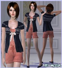 Sims fashion: Apricot Jumpsuit For Adults And Teen Sims