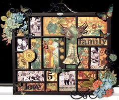 uses just graphic 45 paper  along with trinkets and charms to embellish. love the effect the colors and shades of same colors give the whole