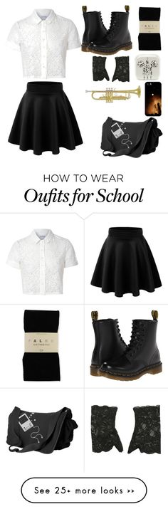 """First Day of School"" by momomarsha on Polyvore featuring Glamorous, Dr. Martens, Falke and Casetify"