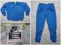 af32ccde574d Vintage 90 s Nike Elite Track Suit Windbreaker Pants Blue Green Neon Nylon  Jacket Full Zip Large