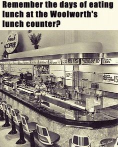 Woolworth's lunch counter My Childhood Memories, Sweet Memories, Childhood Toys, Michigan, Photo Vintage, Vintage Art, Thats The Way, Good Ole, My Memory
