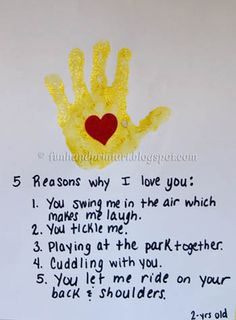5 Reasons I love You Handprint Craft for Mother's Day, Father's Day, Grandparent's Day, or Valentine's! Fathers Day Crafts, Valentine Day Crafts, Be My Valentine, Stepdad Fathers Day Gifts, Christmas Crafts, Reasons Why I Love You, Daddy Day, Footprint Crafts, Grandparents Day