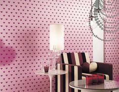 Wallpaper Kawaii pink hearts dot pattern by by WallDecalSticker
