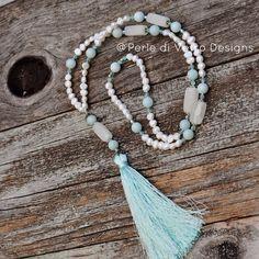 Freshwater Pearl Aqua Fire Polish Bead Beaded Agate Amazonite Mala-Inspired Necklace