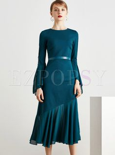 Shop for high quality Elegant Pure Color Tight Waist Maxi Dress online at cheap prices and discover fashion at Ezpopsy.com