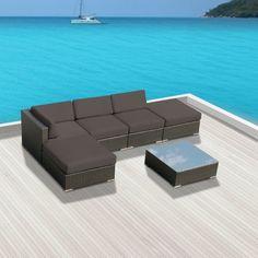 Luxxella Patio Modern Outdoor Wicker Furniture 6-Piece Sectional Sofa Gazebo, Dark Grey