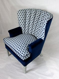 Vintage Channel Back Chair Wing Back Chair in Navy by Element20