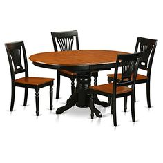 East West Furniture AVPL5-BCH-W 5 Piece with 4 Solid Wood Chairs Avon Dining Set