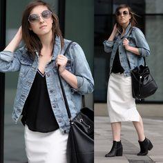 Daria R. - Denim Jacket, White Skirt