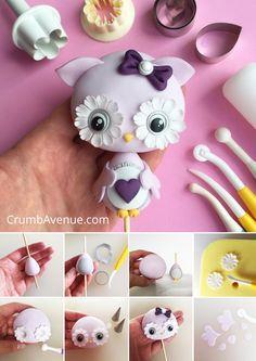 Cute Owl Cake Topper - FREE TUTORIAL - fondant, gum paste, step by step, figurine, bird, kids, baby