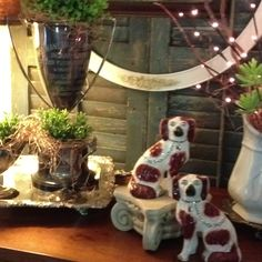 Trophy cups & spaniels #decor #preppy