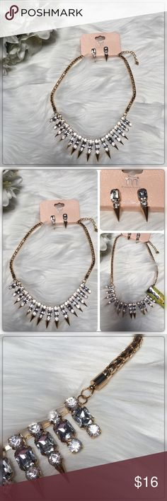 Rhinestone Studded Gold Statement Necklace Set Make a statement in this gorgeous adjustable gold rhinestone Studded necklace or Choker.  Measures 16 - 18 inches and comes with matching rhinestone Studded earnings! Jewelry Necklaces