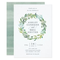 Beautiful watercolor Eucalyptus wreath wedding invitations.
