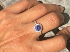 REAL Sterling Silver Halo Tanzanite Promising Ring
