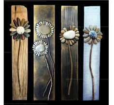 Creative DIY Home decor made with pebble art, more flower ideas on drift wood. - Home Decoration and Diy Discover thousands of images about Pallet Art masterpiece. It's a rock art DIY project that's easy to make Rock flowers - adorable on old barn wood; Arte Pallet, Pallet Art, Pallet Fence, Gabion Fence, Pallet Walls, Fence Stain, Farm Fence, Pool Fence, Caillou Roche