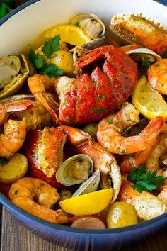 Cajun Seafood Boil, Shrimp And Crab Boil, Seafood Boil Party, Fresh Seafood, Shrimp And Lobster Boil Recipe, Lobster Bake, Crab And Lobster, Cajun Shrimp, Seafood Pasta