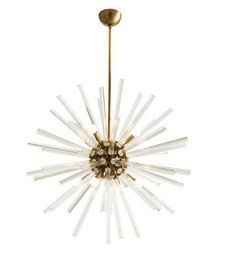 HANLEY LARGE CHANDELIER (FLUTED CRYSTAL / ANTIQUE BRASS), In Stock, Arteriors
