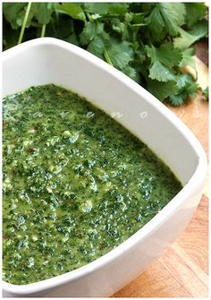 Chimichurri Sauce: 1 bunch flat leaf parsley (cut off thick stems) 1/2 bunch cilantro 4-6 cloves of garlic (adjust to taste) 1 tbs crushed red pepper flakes 1/4 cup red wine vinegar Juice from 1 wedge of small lemon 1 ts dried oregano 1/4 medium white or red onion 1/2 cup extra virgin olive oil salt and pepper to taste