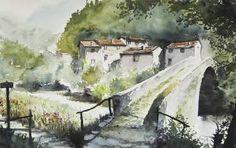 "Saatchi Art Artist Manuele Art; Painting, ""Watermill in Val Sanagra, near Como, Italy"" #art"