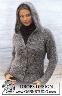 DROPS Cardigan in Vivaldi with Hood ~ DROPS Design