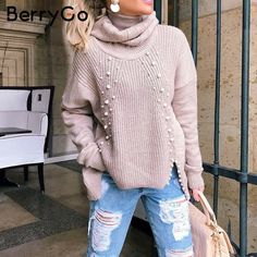 c258f9b1fa4 BerryGo Beading turtleneck plus size knitted pullover Loose split casual  sweater Women 2018 Autumn winter long