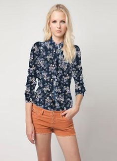Floral Lapel Collar shirt, fashion flower style.