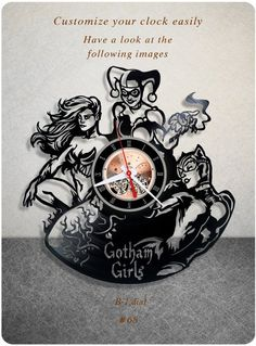 Amazon.com: Gotham City Sirens vinyl clock, vinyl wall clock, vinyl record clock…