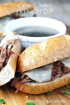 10 Most Misleading Foods That We Imagined Were Being Nutritious! Slow Cooker French Dip Sandwiches Beef Roast Is Cooked Until Tender, Shredded, And Served On Crusty Sub Buns With Melted Cheese And A Side Of Au Jus. Buffalo Chicken Sandwiches, Roast Beef Sandwiches, Slow Cooker Recipes, Crockpot Recipes, Cooking Recipes, Cooking Pork, Yummy Recipes, Recipies, Slow Cooked Roast Beef